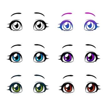 Мультфильм глаза женщины и брови с ресницами. отдельные векторные иллюстрации. может использоваться для печати на футболках, постерах и открытках.