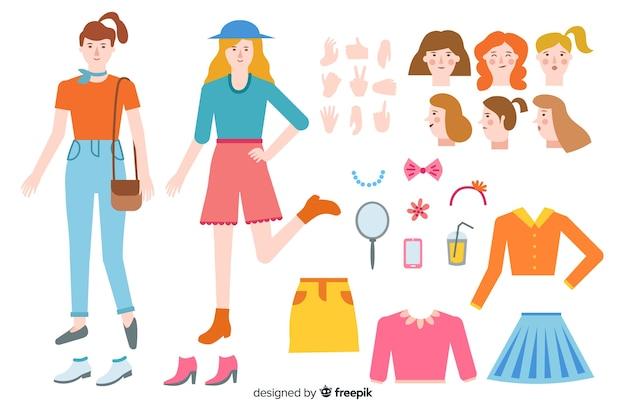 모션 디자인을위한 만화 여자