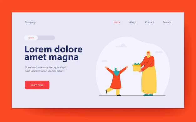 Cartoon woman giving present to little girl landing page in flat style
