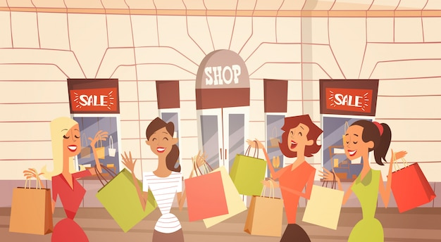 Cartoon woman group with shopping bag big sale banner retial store exterior