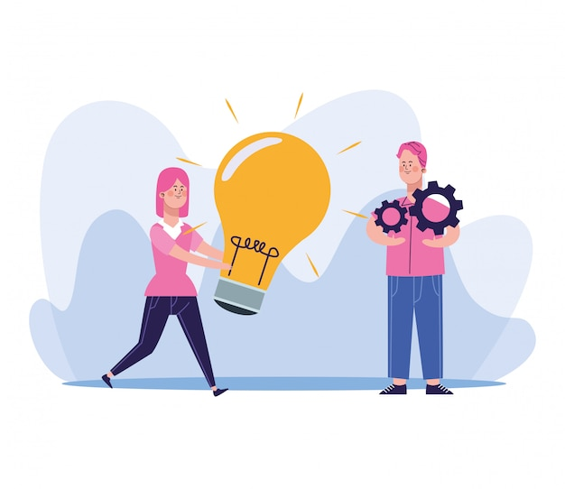 Cartoon woman holding a big bulb and man with gear wheels