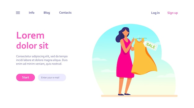 Cartoon woman holding dress for sale. clothes, discount, store web template.