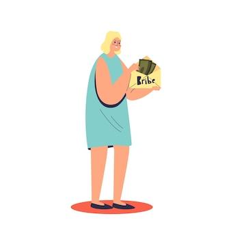 Мультфильм женщина держит конверт, полный денег для взятки
