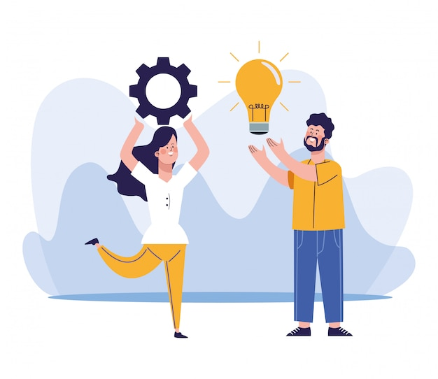 Cartoon woman holding up a gear wheel and man with bulb light