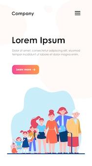 Мультфильм женщина в веб-шаблоне разного возраста. цикл роста женского персонажа от ребенка к старику