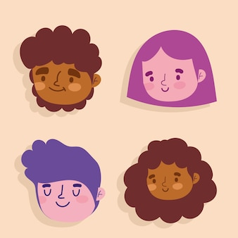 Cartoon woman and man faces character female icons set  illustration