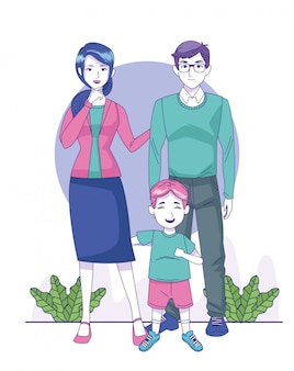 Cartoon woman and man with little boy standing