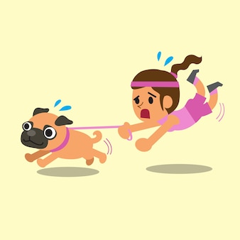 Cartoon woman pulled by her pug dog