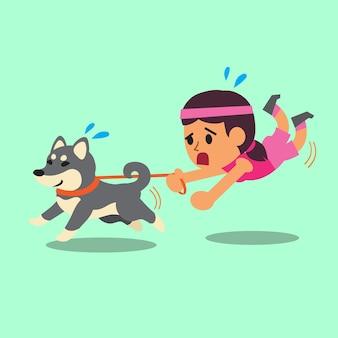 Cartoon woman pulled by her shiba inu dog