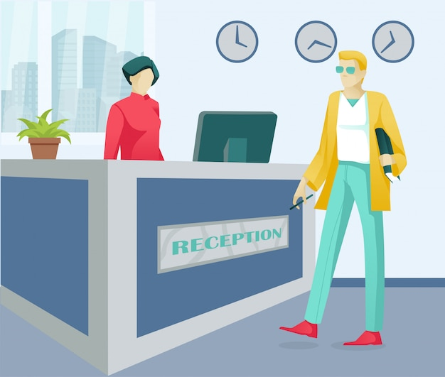Cartoon woman receptionist and customer characters