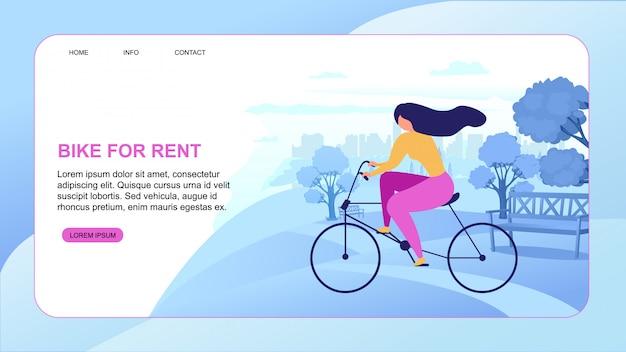 Cartoon woman rent bike city eco transportation