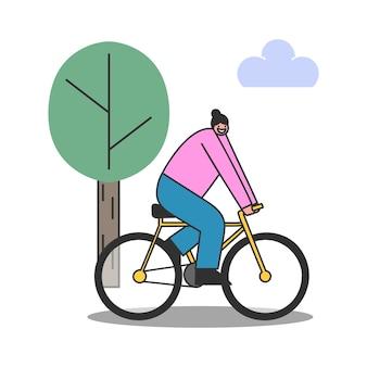 Велосипед катания женщины шаржа над деревом. вид профиля женщины-велосипедиста