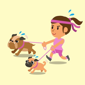 Cartoon woman running with her dogs