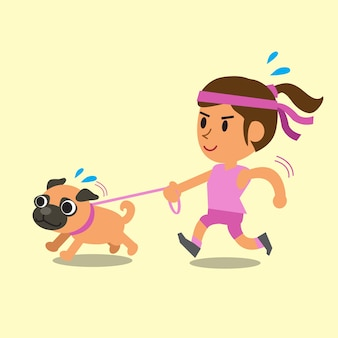 Cartoon woman running with her pug dog
