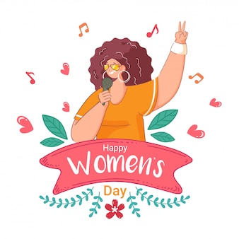 Cartoon woman singing from microphone with hearts on white greeting card