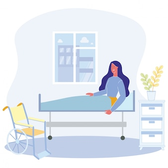 Cartoon woman sit bed physically disabled person