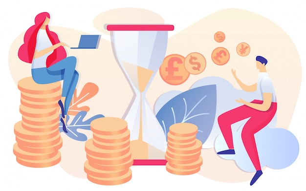 Cartoon woman sit on coin stack man pay money