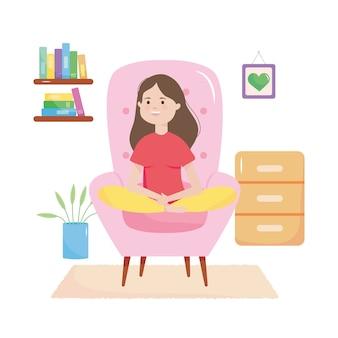 白い背景の上のリビングルームのピンクの肘掛け椅子に座っている漫画の女性