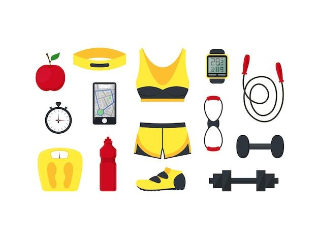 漫画の女性のスポーツは、フィットネスとランニングのための衣類と機器を設定します。