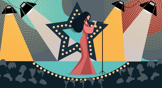Cartoon woman on stage sing song hold microphone