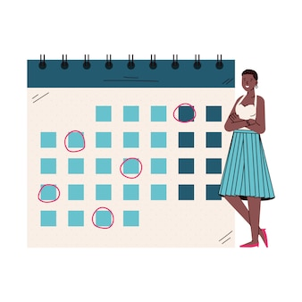 Cartoon woman standing by giant calendar with month schedule