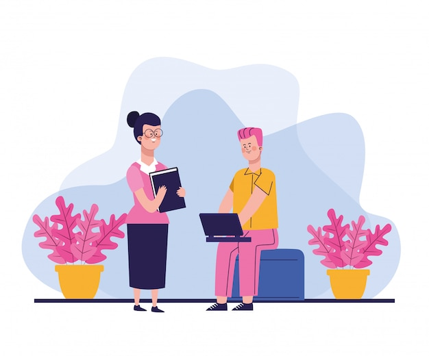 Cartoon woman standing and man using a laptop sitting with plants around