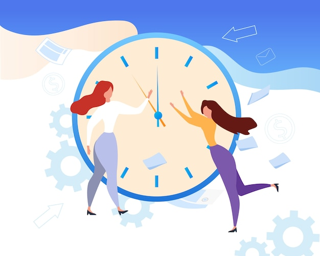 Cartoon woman stop clock hands time management