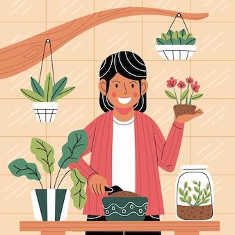 植物の世話をする漫画の女性