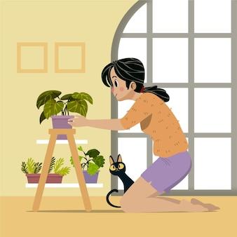 Cartoon woman taking care of plants