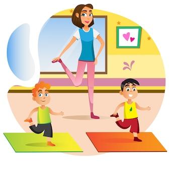 Cartoon woman teaching boys exercise yoga at home.
