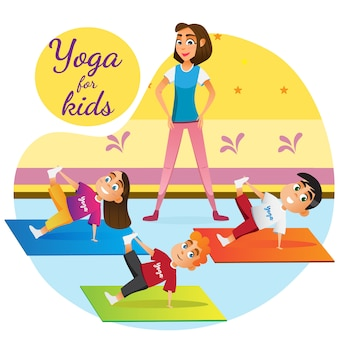 Cartoon woman teaching children yoga lesson room