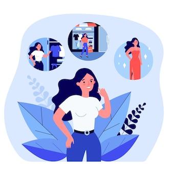 Мультфильм женщина думает о покупке красивого нового платья. девушка собирается в магазин одежды и получает плоскую векторную иллюстрацию платья. покупки, концепция моды для баннера, дизайн веб-сайта или целевой страницы