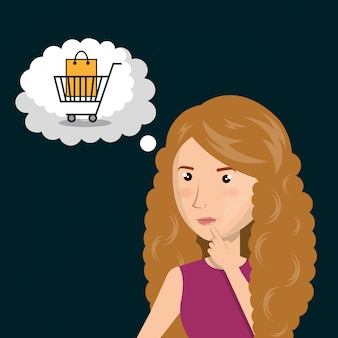Cartoon woman thinking e-commerce isolated design