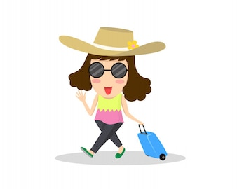 Cartoon woman traveler is ready for vacation