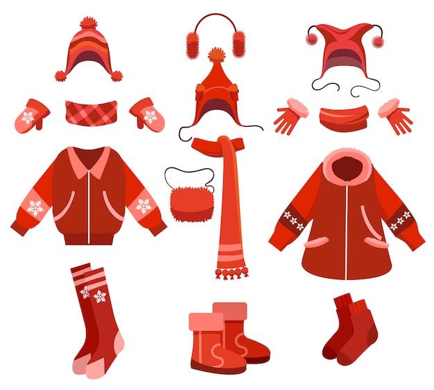 Cartoon woman winter clothes set