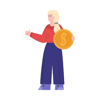 Cartoon woman with coin showing thumb up flat vector illustration isolated