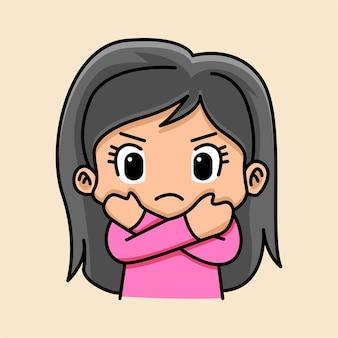 腕を組んだジェスチャーで漫画の女性