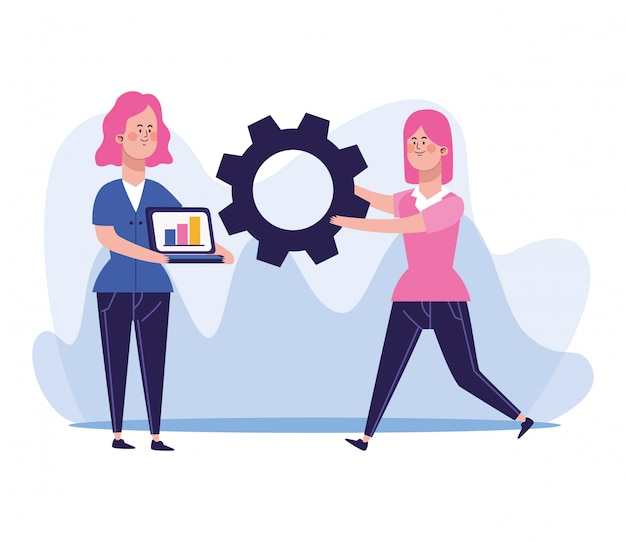 Cartoon woman with laptop computer and woman holding a gear wheel