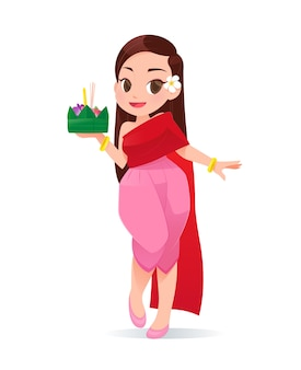 Cartoon woman with loy krathong festival