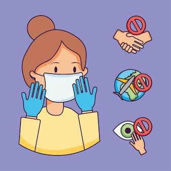 口マスクとコロナウイルス予防アイコンセットと漫画の女性
