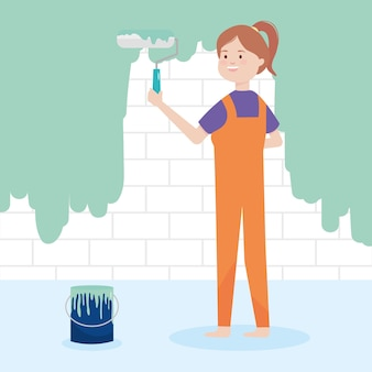 Cartoon woman with paint roller
