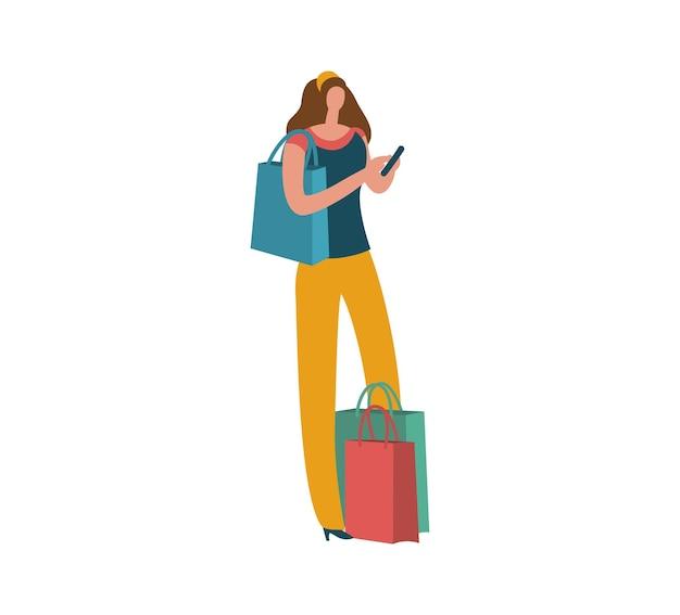 Мультфильм женщина с хозяйственной сумкой и смартфоном. изображение молодой красивой девушки покупателя моды для продажи или рекламы скидки. плоские векторные изолированные модные иллюстрации