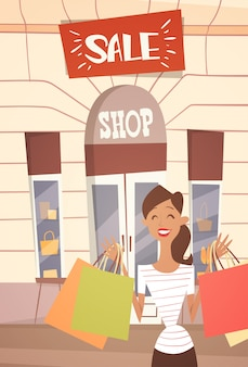 Cartoon woman with shopping bag big sale banner retial store exterior