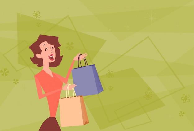 Cartoon woman with shopping bag big sale banner
