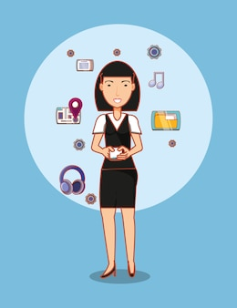 Cartoon woman with social media related icons