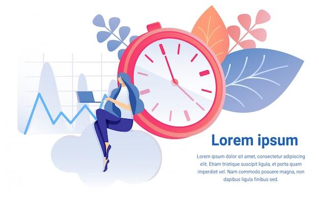 Cartoon woman work on notebook timer clock symbol