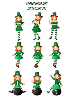 Cartoon women leprechaun collection set