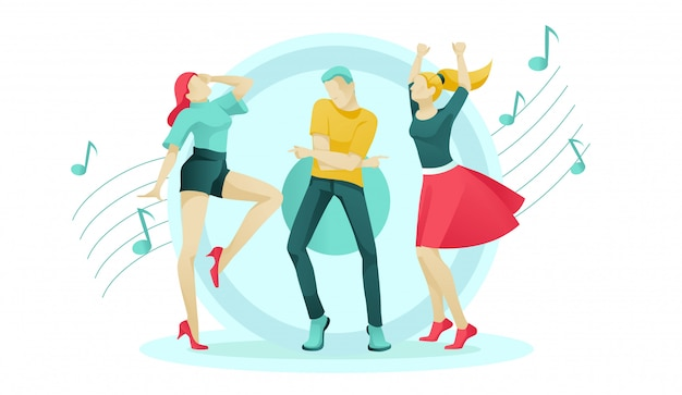 Cartoon women and man move to music on dance floor