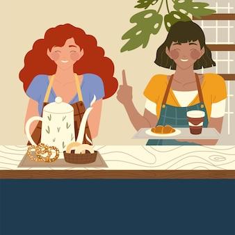 漫画の女性ウェイトレスは、コーヒーカップとクロワッサンのイラストを保持します