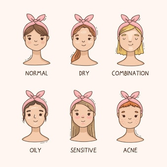 Мультфильм женщин с разными типами кожи